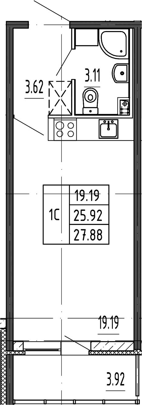 Студия, 25.92 м²– 2