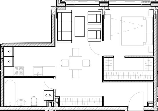 Свободная планировка, 46.2 м²– 2