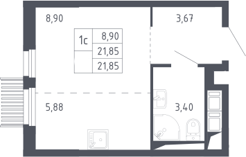 Студия, 21.85 м²