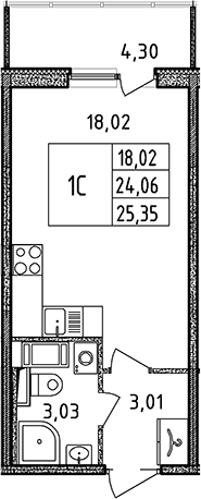 Студия, 24.06 м²
