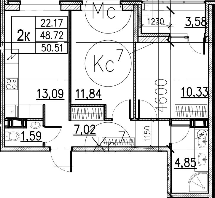 3Е-комнатная, 50.51 м²– 2