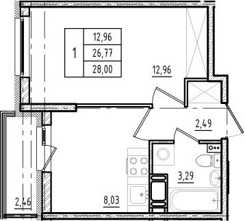 1-к.кв, 26.77 м², от 7 этажа