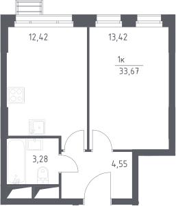 1-к.кв, 33.67 м²