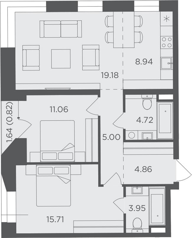 3Е-к.кв, 74.24 м², 11 этаж
