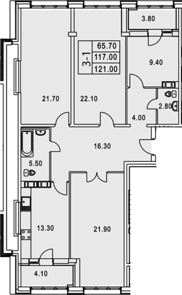 3-к.кв, 128.85 м²
