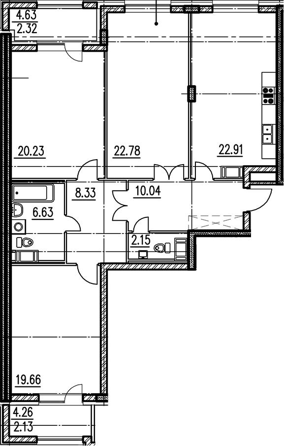 3-к.кв, 121.62 м²