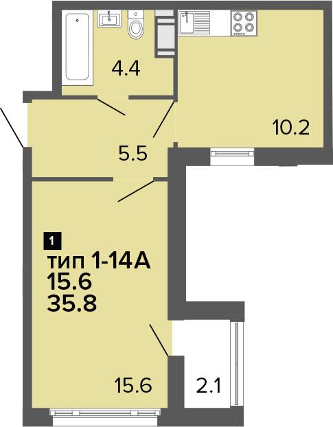 1-к.кв, 35.8 м², 21 этаж
