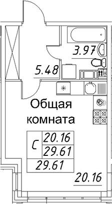 Студия, 29.61 м²– 2