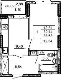 1-к.кв, 33.63 м², 2 этаж