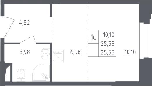 Студия, 25.58 м²– 2