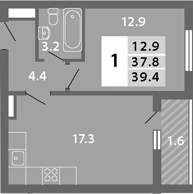 2Е-к.кв, 39.38 м², 13 этаж