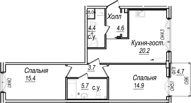 3Е-комнатная, 70.3 м²– 2