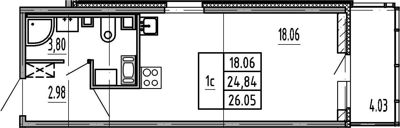 Студия, 28.87 м²