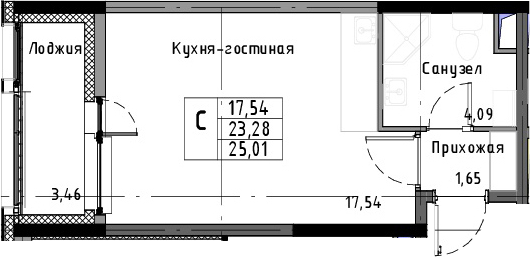 Студия, 26.74 м²