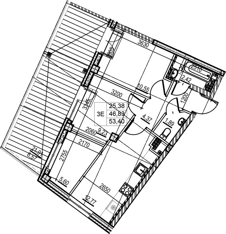 3Е-комнатная, 53.4 м²– 2