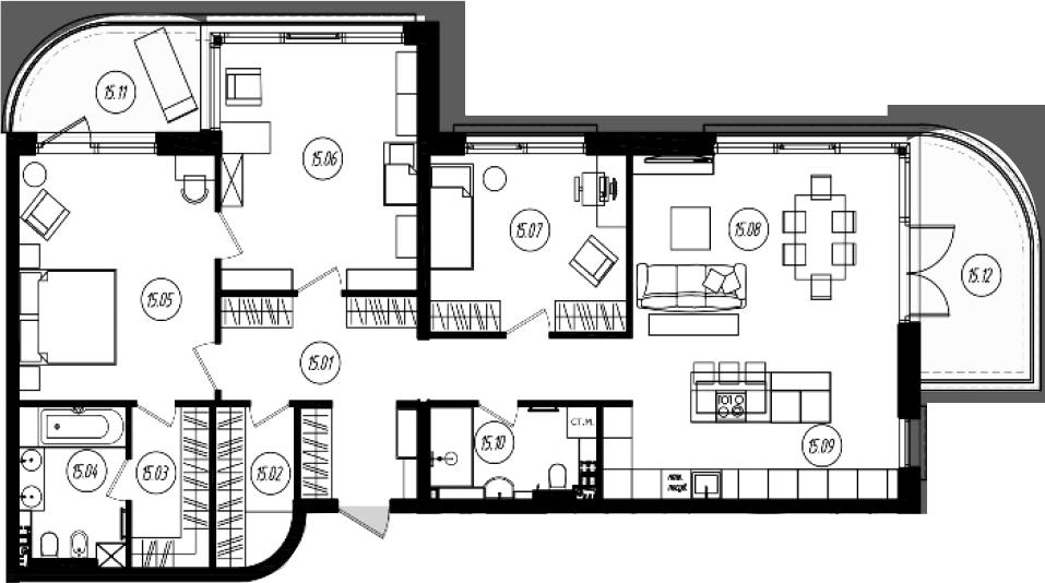 4Е-комнатная, 127.42 м²– 2