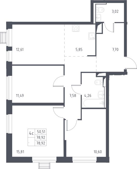 4Е-комнатная, 78.92 м²– 2