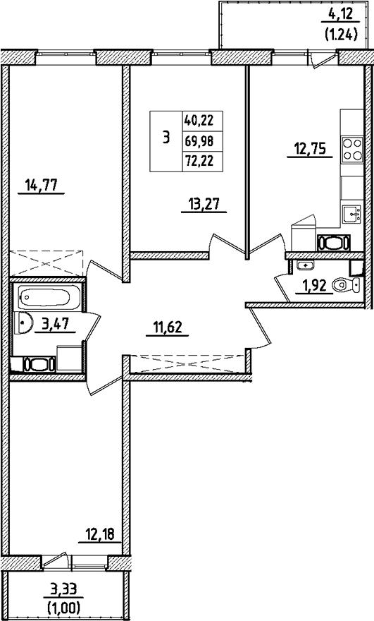3-к.кв, 72.22 м²