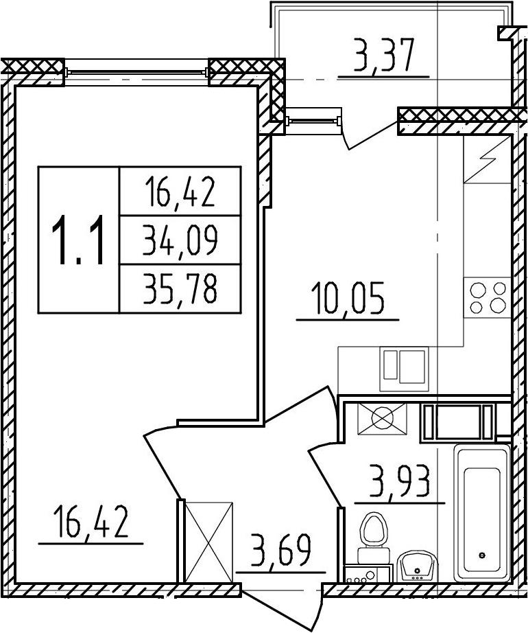 1-комнатная, 34.09 м²– 2