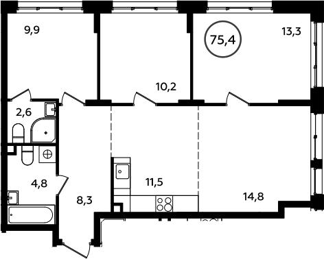 4Е-к.кв, 75.4 м²
