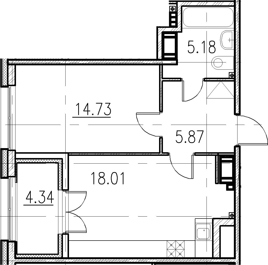 2-к.кв (евро), 48.13 м²
