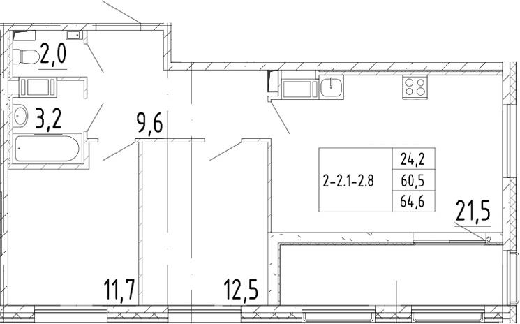 3Е-к.кв, 64.6 м²
