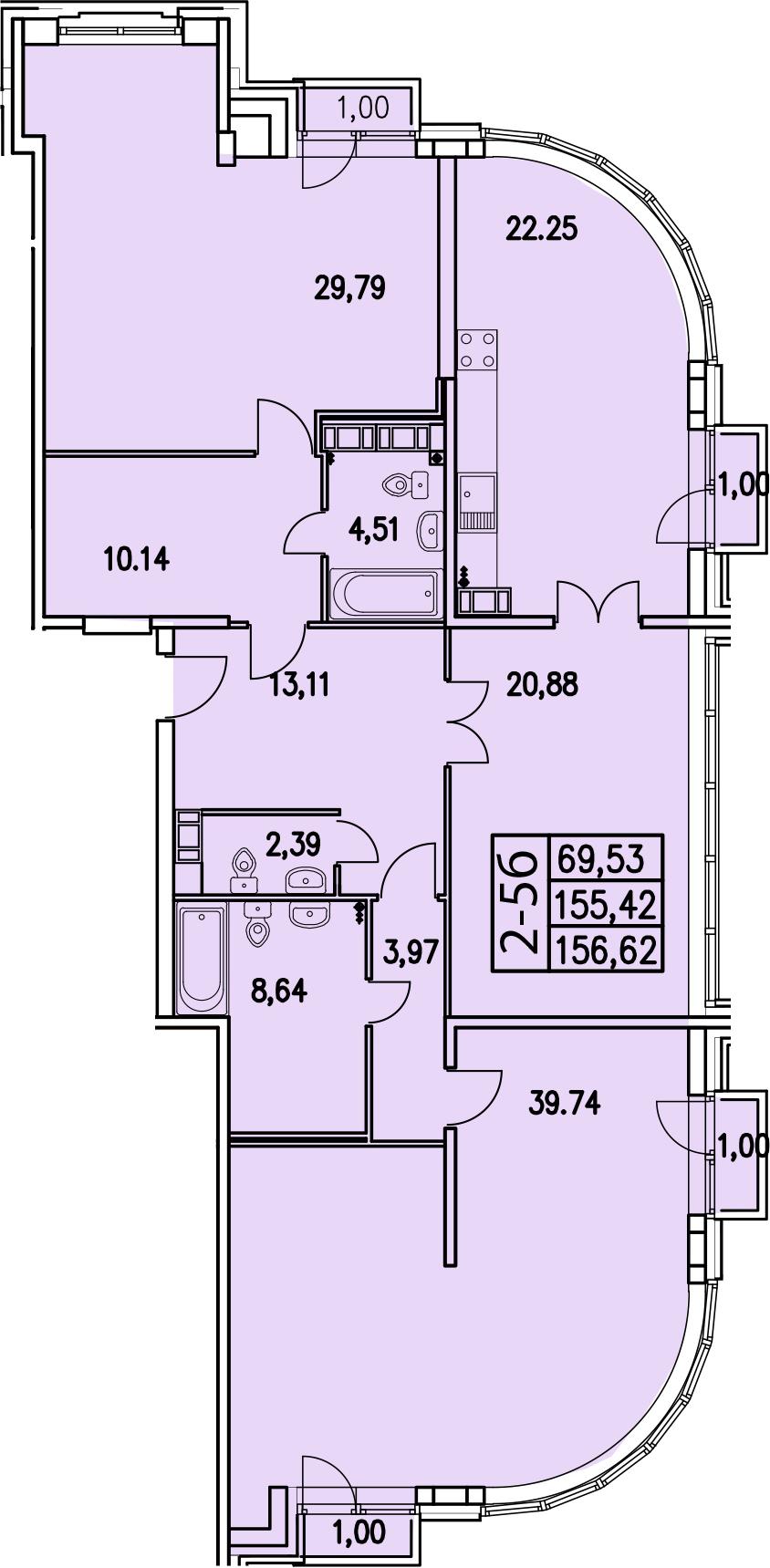 2-комнатная, 157.02 м²– 2
