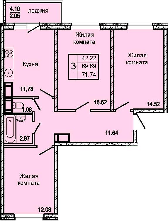 3-к.кв, 73.79 м²