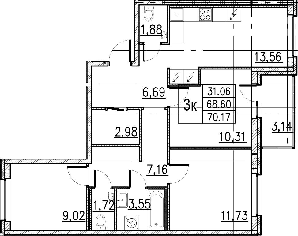 4Е-комнатная, 70.17 м²– 2