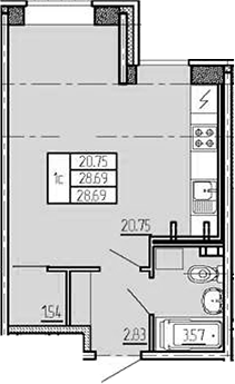 Студия, 28.69 м²– 2