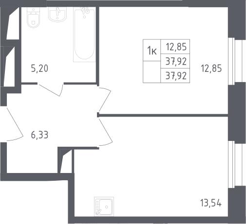 1-комнатная, 37.92 м²– 2