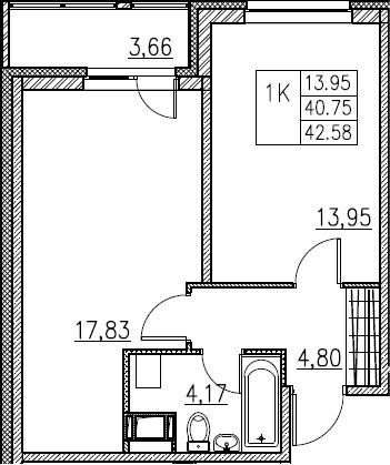 2Е-комнатная, 42.58 м²– 2