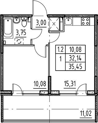 2Е-комнатная, 32.14 м²– 2