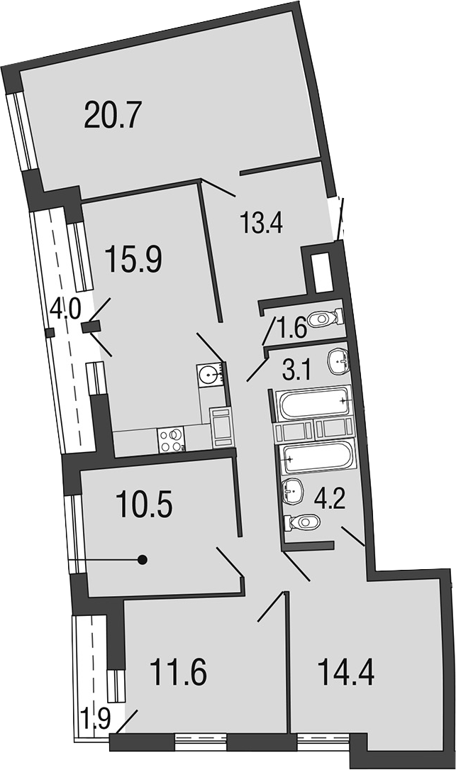 5Е-комнатная, 95.4 м²– 2