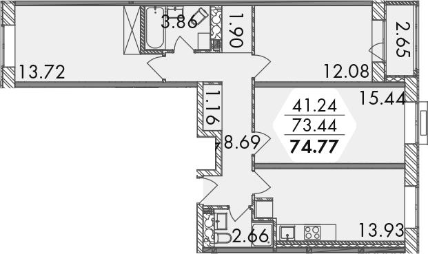 3-к.кв, 74.77 м²
