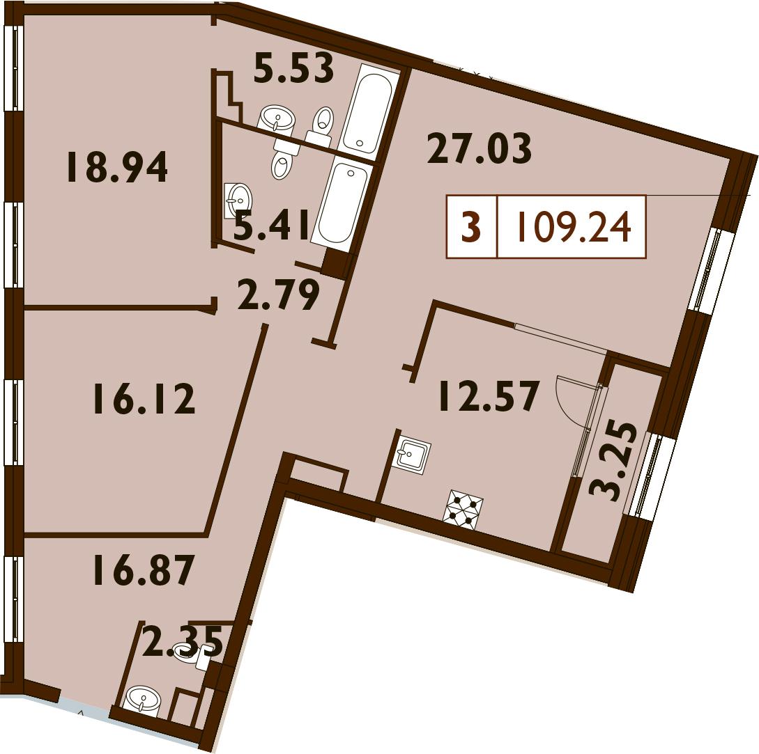 3-комнатная, 109.24 м²– 2