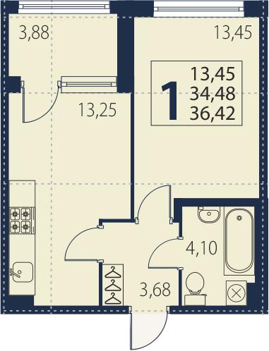 2-к.кв (евро), 38.36 м²
