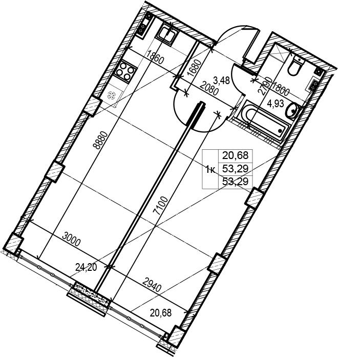2Е-комнатная, 53.29 м²– 2
