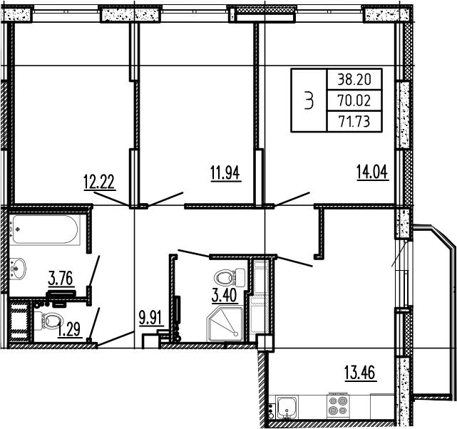 3-к.кв, 71.73 м²