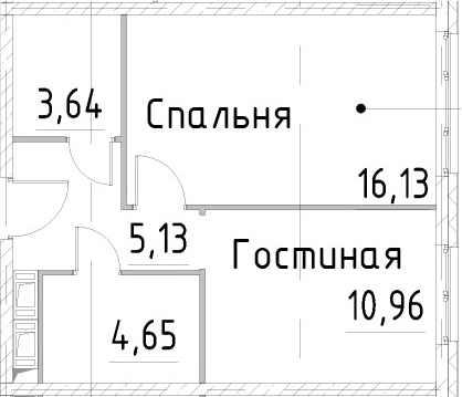 1-к.кв, 40.5 м², от 17 этажа