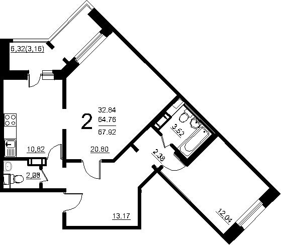 2-комнатная квартира, 71.09 м², 1 этаж – Планировка