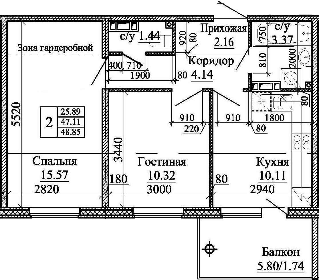 2-комнатная, 48.85 м²– 2