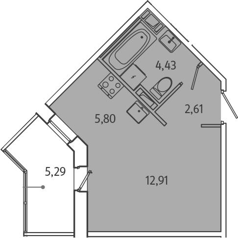 Студия, 28.4 м², 2 этаж