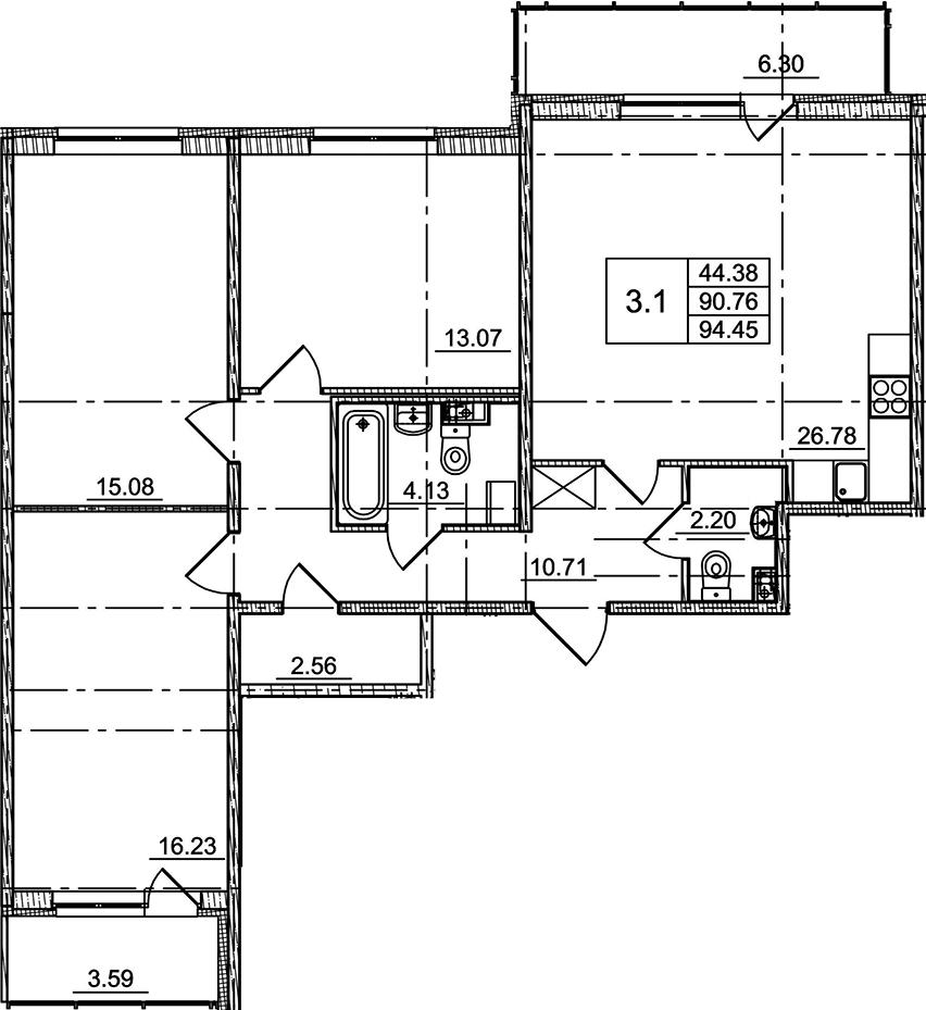 4Е-к.кв, 90.76 м²