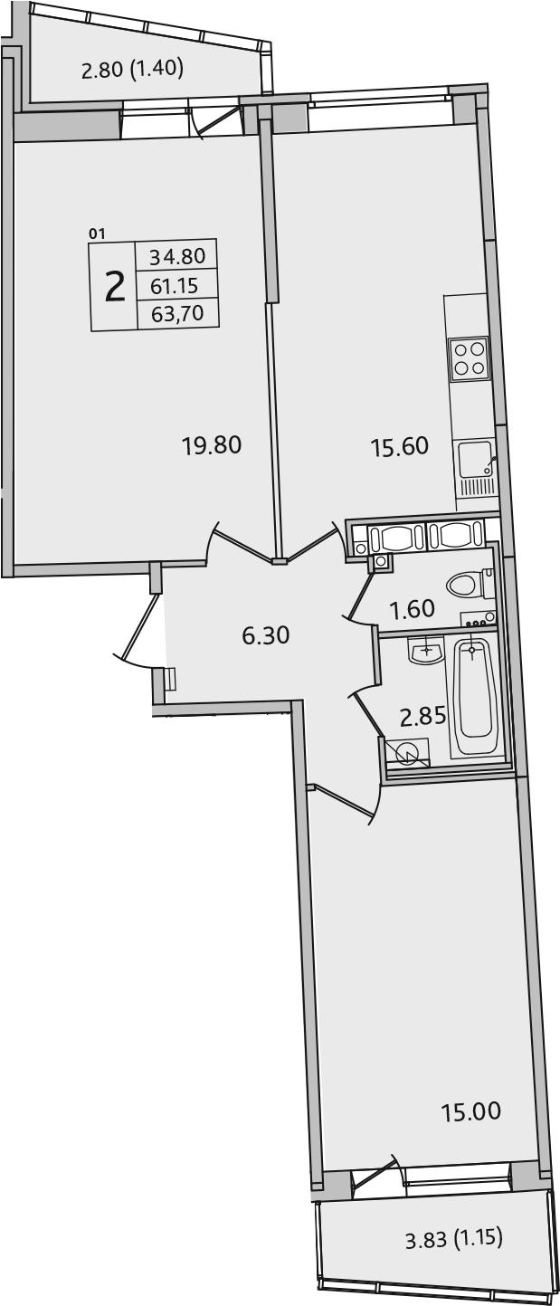 3Е-комнатная, 63.7 м²– 2