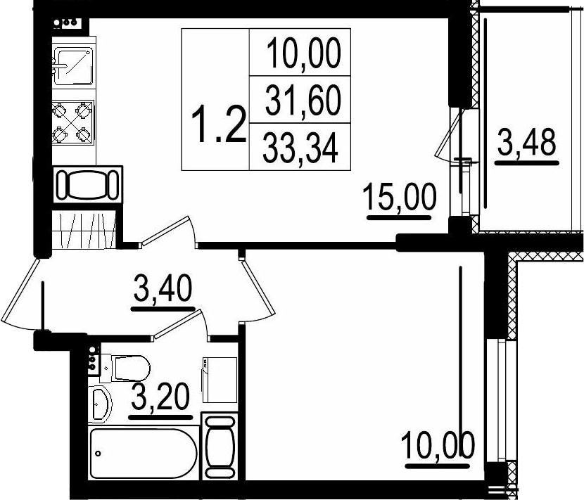 2Е-к.кв, 31.6 м²