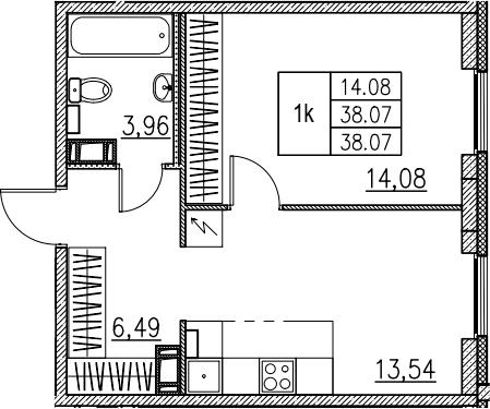 1-комнатная, 38.07 м²– 2
