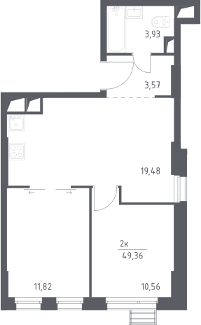 3Е-комнатная, 49.36 м²– 2