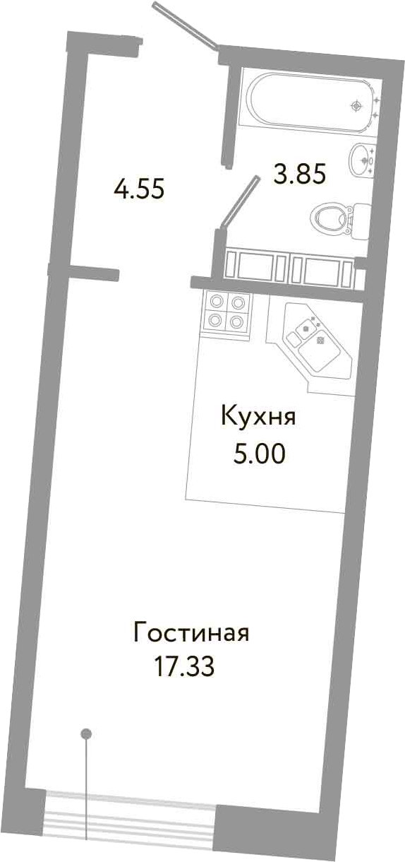 Студия, 30.73 м²