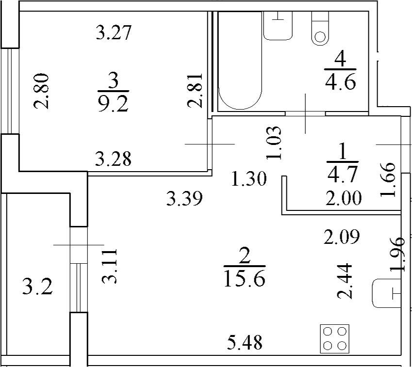 2Е-к.кв, 35.7 м²